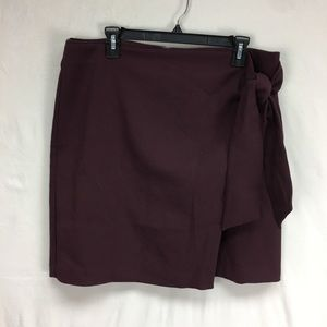 LOFT Burgundy Wrap Tie Skirt